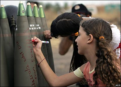 israeli teens sign bombs to be dropped on Arab kids