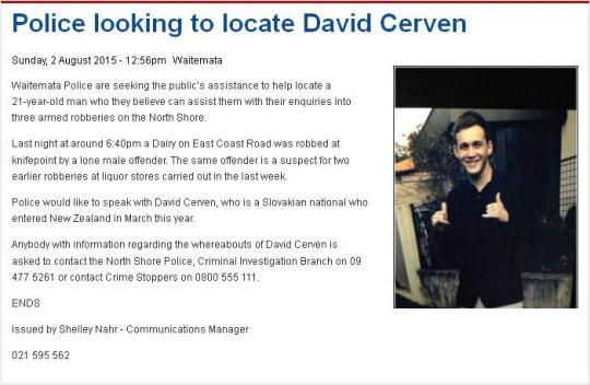 police bulettin on Cerven